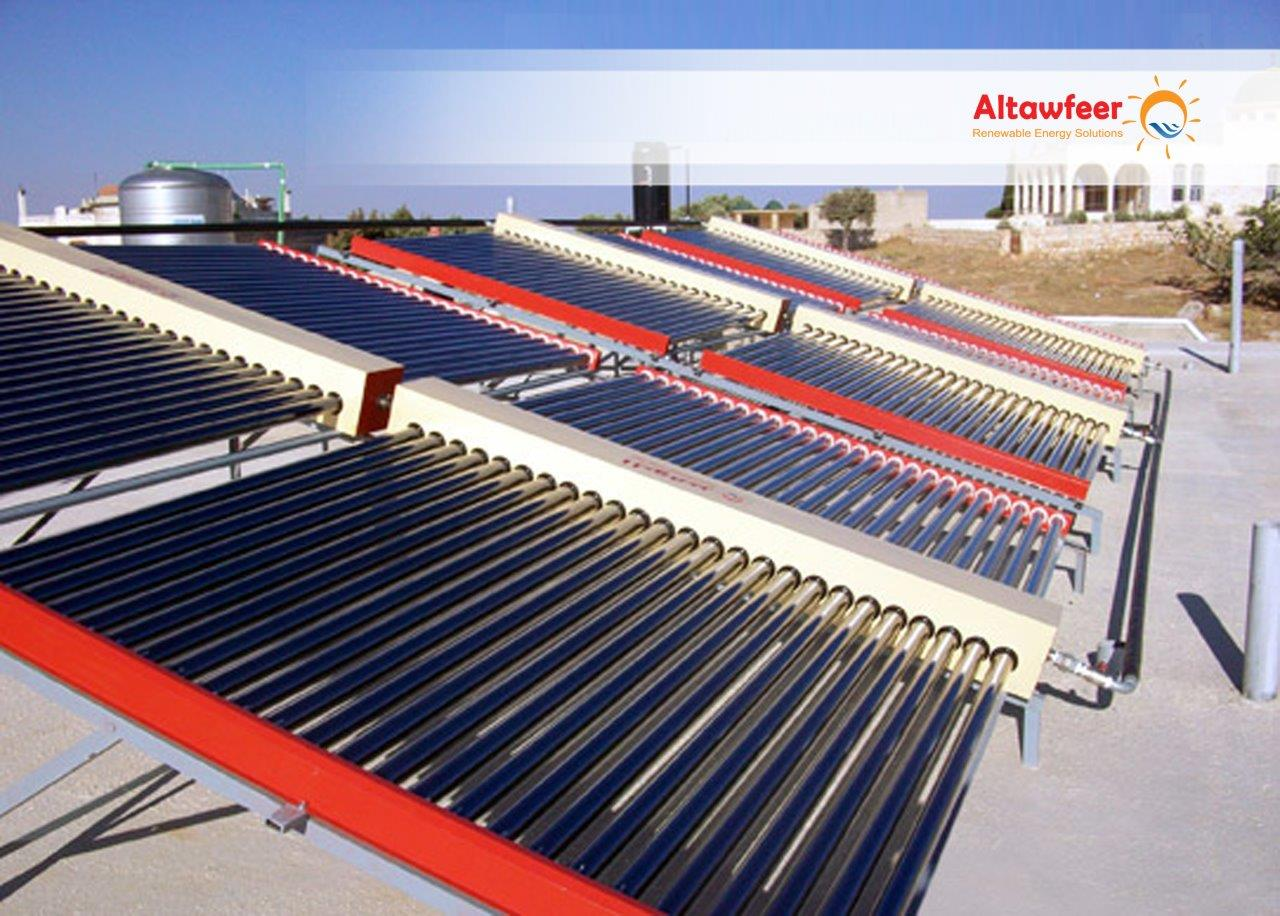 Solar water heaters solar evacuated tubes altwafeer projects syria for Swimming pool heating system design